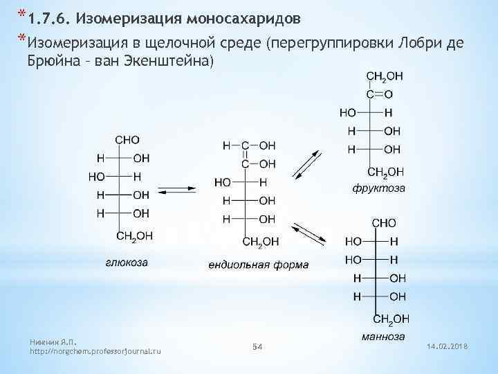 *1. 7. 6. Изомеризация моносахаридов *Изомеризация в щелочной среде (перегруппировки Лобри де Брюйна –