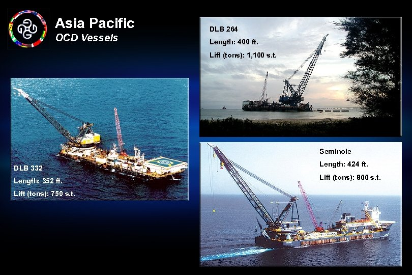 Asia Pacific OCD Vessels DLB 264 Length: 400 ft. Lift (tons): 1, 100 s.