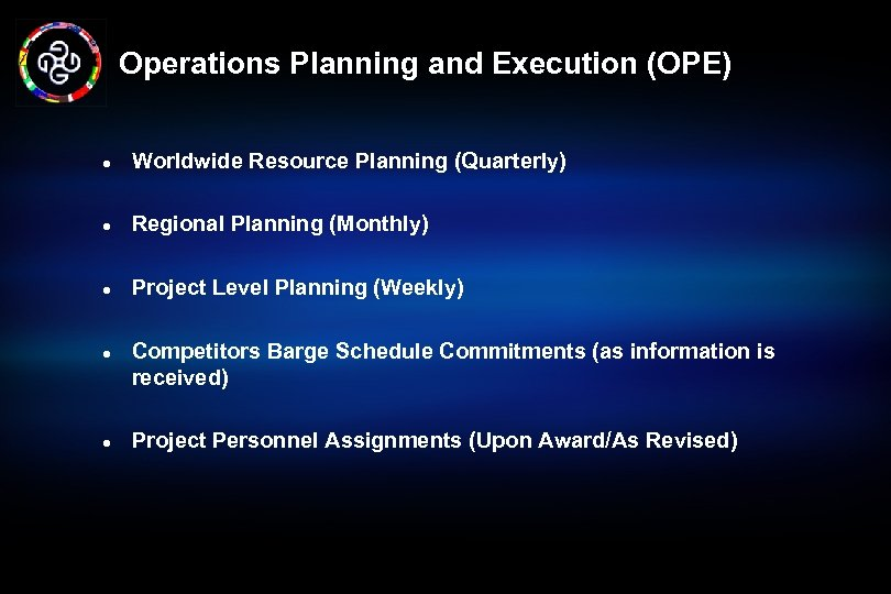 Operations Planning and Execution (OPE) l Worldwide Resource Planning (Quarterly) l Regional Planning (Monthly)