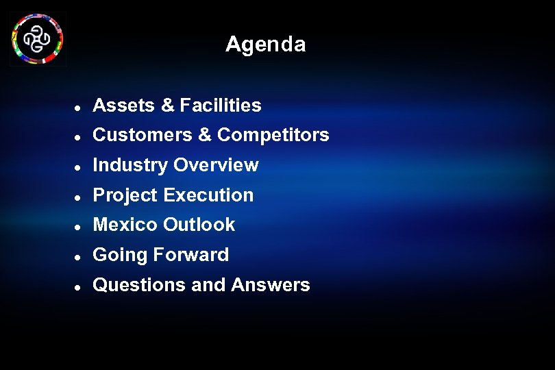Agenda l Assets & Facilities l Customers & Competitors l Industry Overview l Project