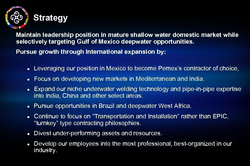 Strategy Maintain leadership position in mature shallow water domestic market while selectively targeting Gulf