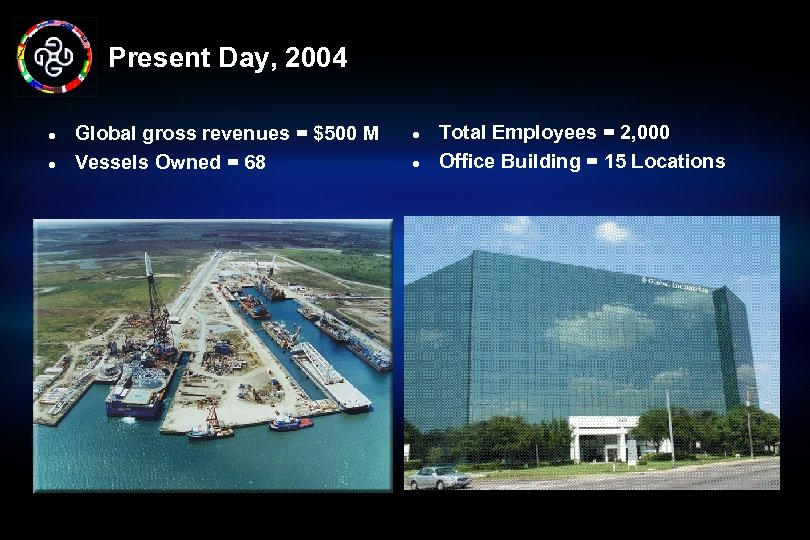 Present Day, 2004 l l Global gross revenues = $500 M Vessels Owned =