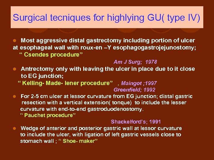 Surgical tecniques for highlying GU( type IV) Most aggressive distal gastrectomy including portion of