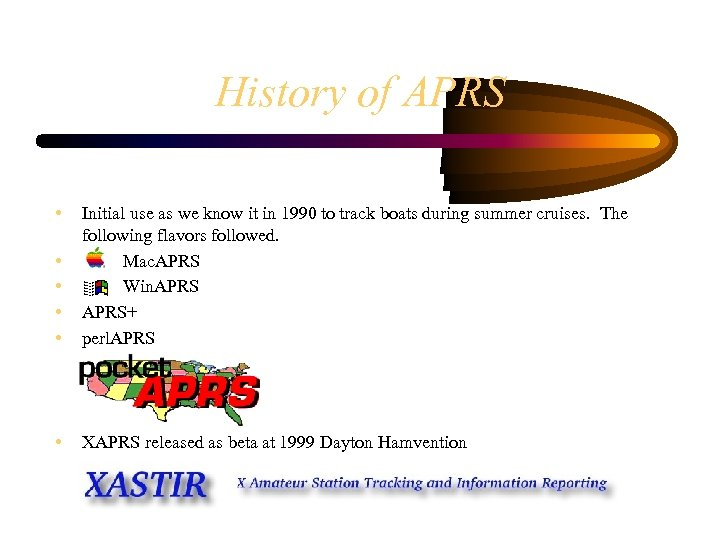 History of APRS • • • Initial use as we know it in 1990