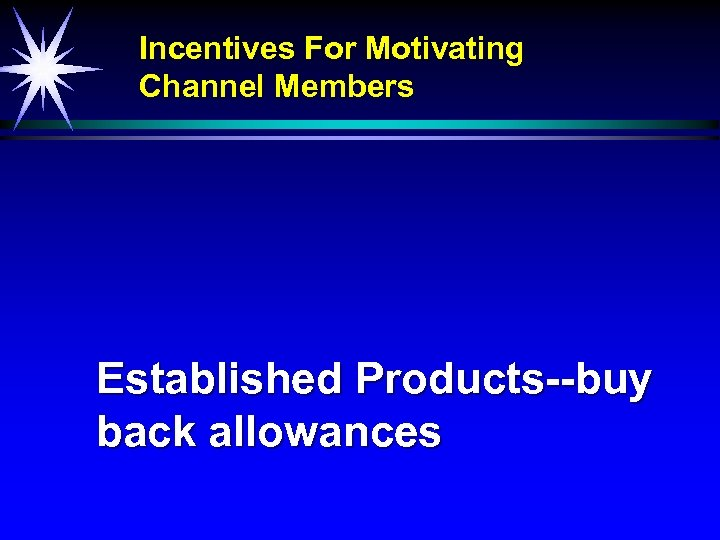 Incentives For Motivating Channel Members Established Products--buy back allowances