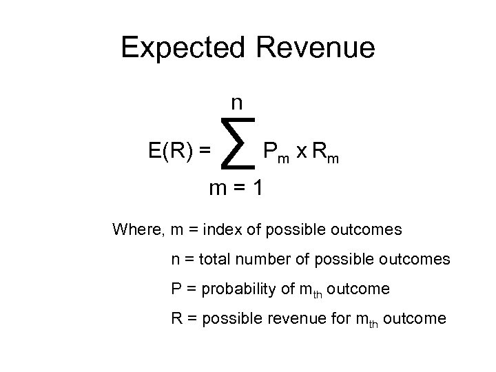 Expected Revenue n E(R) = ∑ P m x Rm m=1 Where, m =