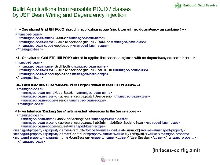 Build Applications from reusable POJO / classes by JSF Bean Wiring and Dependency Injection