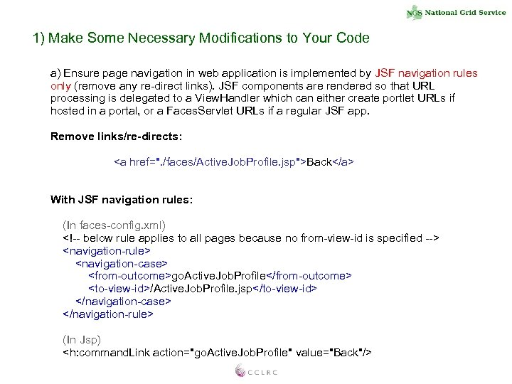 1) Make Some Necessary Modifications to Your Code a) Ensure page navigation in web