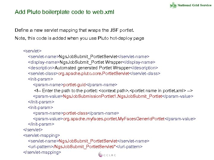 Add Pluto boilerplate code to web. xml Define a new servlet mapping that wraps