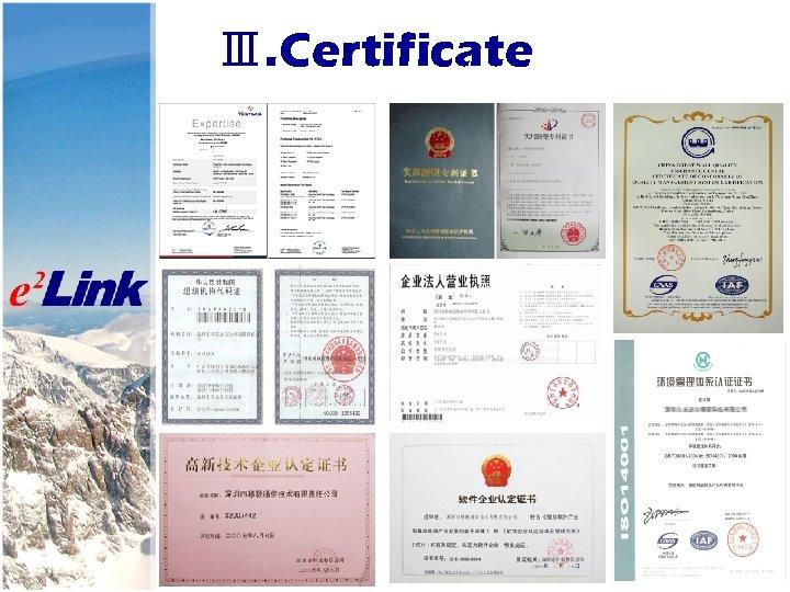 Ⅲ. Certificate