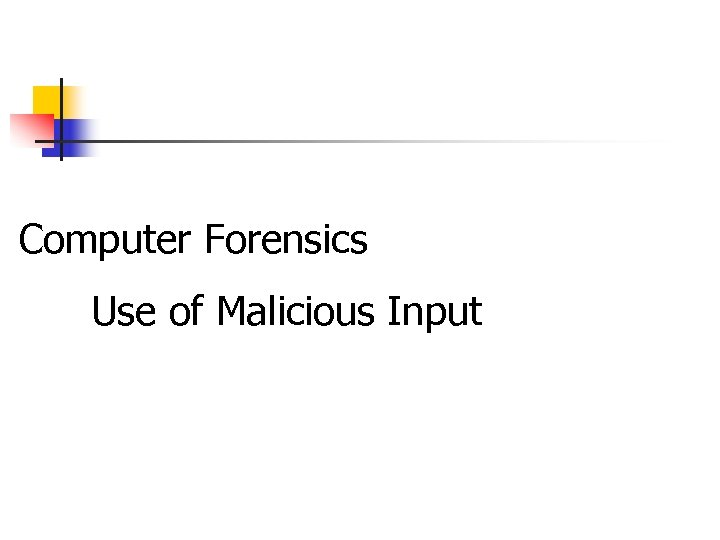 Computer Forensics Use of Malicious Input