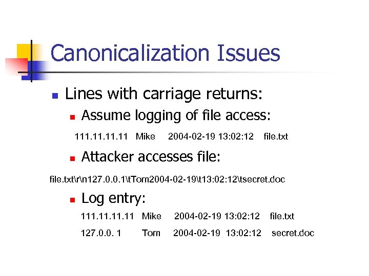 Canonicalization Issues n Lines with carriage returns: n Assume logging of file access: 111.
