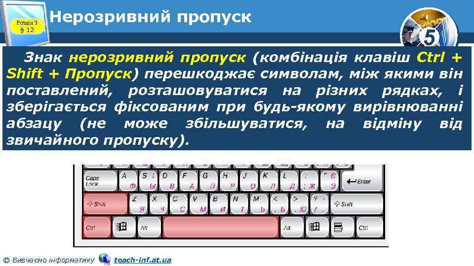 Розділ 3 § 12 Нерозривний пропуск 5 Знак нерозривний пропуск (комбінація клавіш Ctrl +