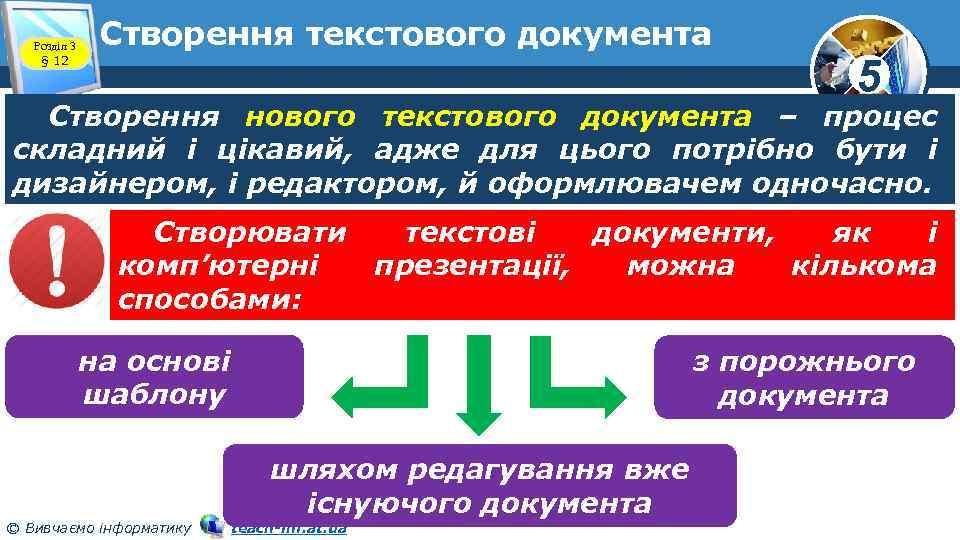 Розділ 3 § 12 Створення текстового документа 5 Створення нового текстового документа – процес