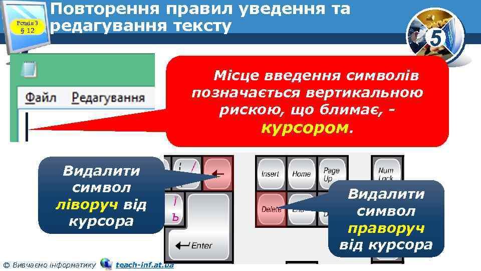 Розділ 3 § 12 Повторення правил уведення та редагування тексту 5 Місце введення символів