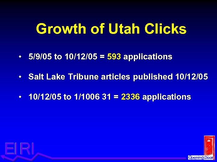 Growth of Utah Clicks • 5/9/05 to 10/12/05 = 593 applications • Salt Lake
