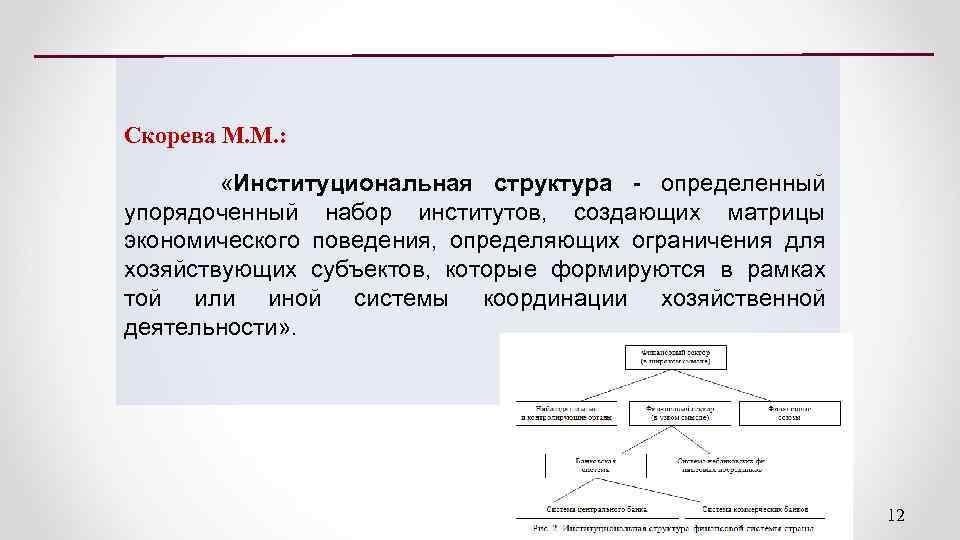 Скорева М. М. : «Институциональная структура - определенный упорядоченный набор институтов, создающих матрицы экономического
