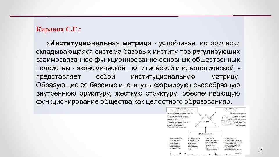 Кирдина С. Г. : «Институциональная матрица - устойчивая, исторически складывающаяся система базовых институ тов,