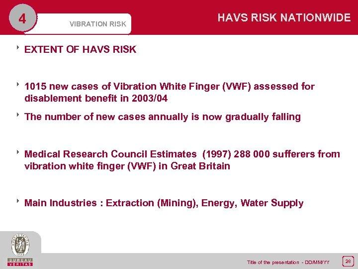 4 VIBRATION RISK HAVS RISK NATIONWIDE 8 EXTENT OF HAVS RISK 8 1015 new