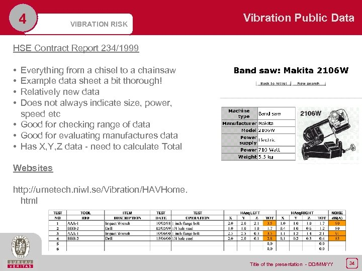 4 VIBRATION RISK Vibration Public Data HSE Contract Report 234/1999 • • Everything from