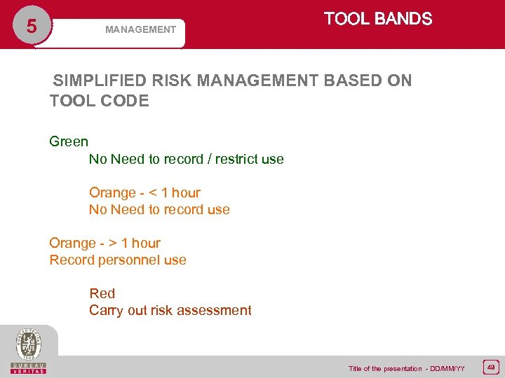 5 MANAGEMENT TOOL BANDS SIMPLIFIED RISK MANAGEMENT BASED ON TOOL CODE Green No Need
