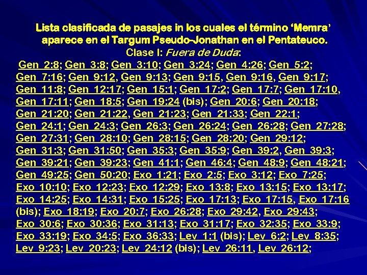 Lista clasificada de pasajes in los cuales el término 'Memra' aparece en el Targum