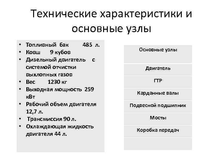 Технические характеристики и основные узлы • Топливный бак 485 л. • Ковш 9 кубов
