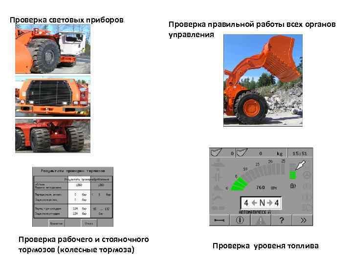 Проверка световых приборов Проверка рабочего и стояночного тормозов (колесные тормоза) Проверка правильной работы всех