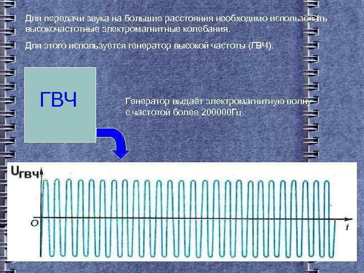 Для передачи звука на большие расстояния необходимо использовать высокочастотные электромагнитные колебания. Для этого используется