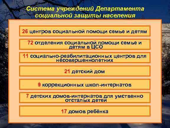 Система учреждений Департамента социальной защиты населения 26 центров социальной помощи семье и детям 72