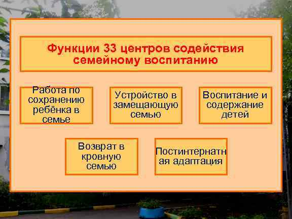 Функции 33 центров содействия семейному воспитанию Работа по сохранению ребёнка в семье Устройство в