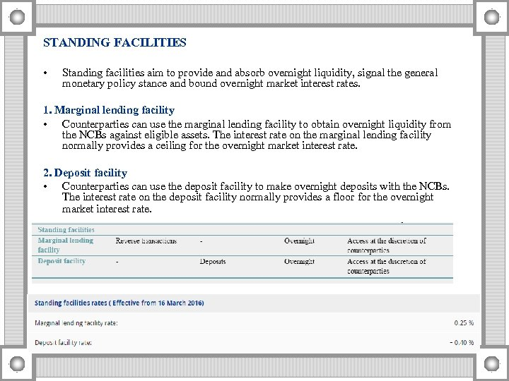 STANDING FACILITIES • Standing facilities aim to provide and absorb overnight liquidity, signal the
