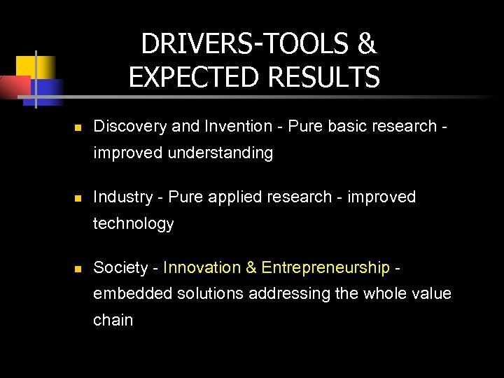 DRIVERS-TOOLS & EXPECTED RESULTS n Discovery and Invention - Pure basic research improved understanding