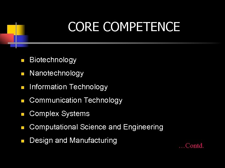 CORE COMPETENCE n Biotechnology n Nanotechnology n Information Technology n Communication Technology n Complex