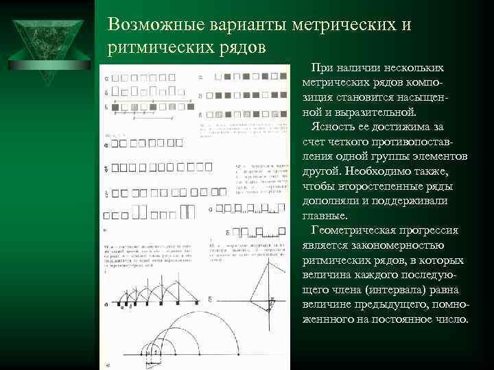 Возможные варианты метрических и ритмических рядов При наличии нескольких метрических рядов композиция становится насыщенной