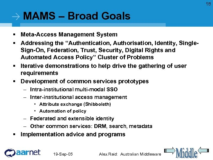 """18 MAMS – Broad Goals § Meta-Access Management System § Addressing the """"Authentication, Authorisation,"""