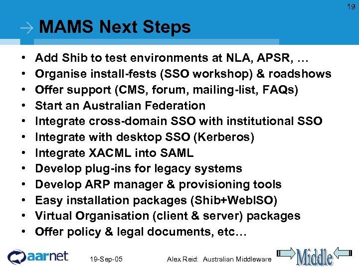 19 MAMS Next Steps • • • Add Shib to test environments at NLA,