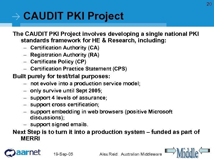 20 CAUDIT PKI Project The CAUDIT PKI Project involves developing a single national PKI
