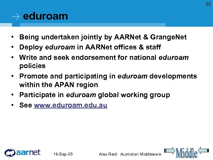 22 eduroam • Being undertaken jointly by AARNet & Grange. Net • Deploy eduroam