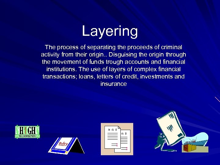 Layering The process of separating the proceeds of criminal activity from their origin. .
