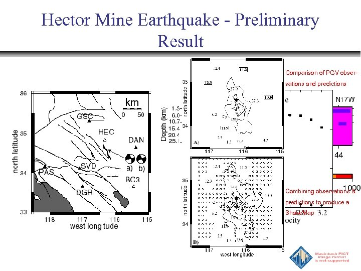 Hector Mine Earthquake - Preliminary Result Comparison of PGV observations and predictions Combining observations