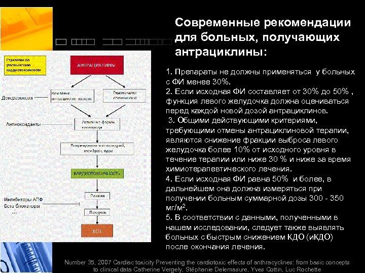 Современные рекомендации для больных, получающих антрациклины: 1. Препараты не должны применяться у больных с
