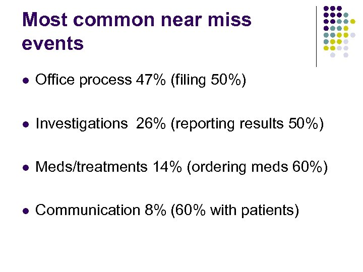 Most common near miss events l Office process 47% (filing 50%) l Investigations 26%