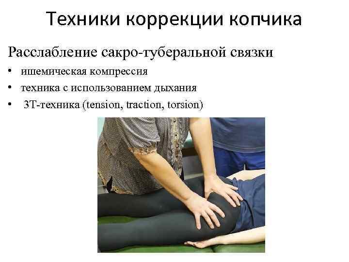 Техники коррекции копчика Расслабление сакро-туберальной связки • ишемическая компрессия • техника с использованием дыхания
