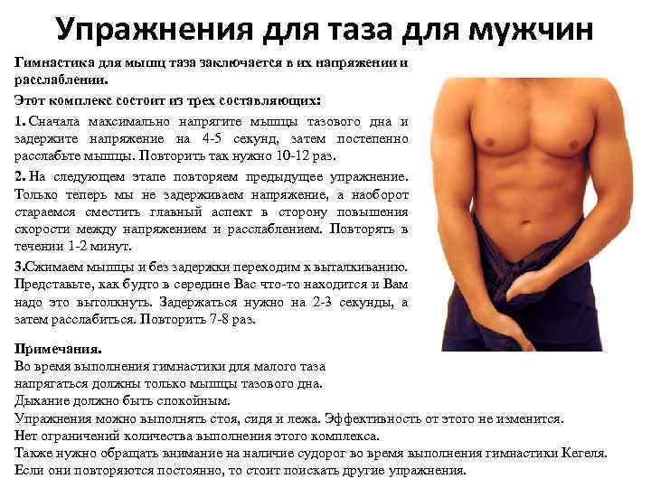 Упражнения для таза для мужчин Гимнастика для мышц таза заключается в их напряжении и