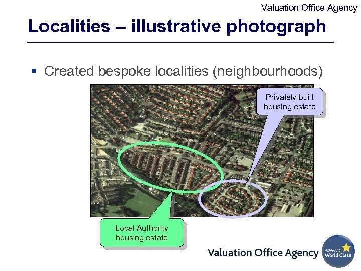 Valuation Office Agency Localities – illustrative photograph § Created bespoke localities (neighbourhoods) Privately built