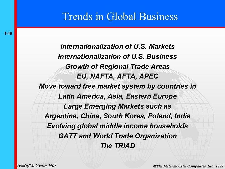 Trends in Global Business 1 -10 Internationalization of U. S. Markets Internationalization of U.