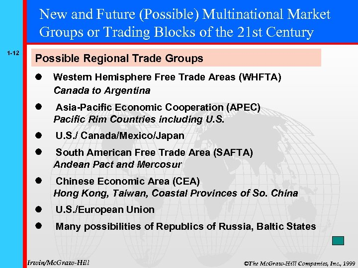 New and Future (Possible) Multinational Market Groups or Trading Blocks of the 21 st