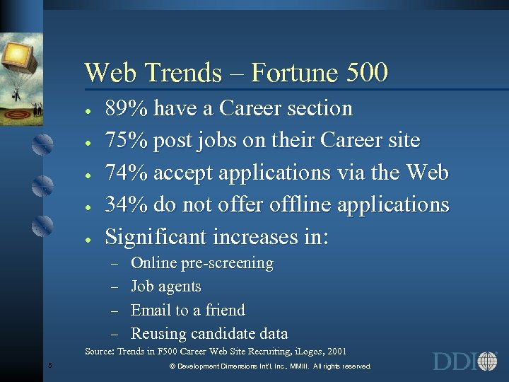 Web Trends – Fortune 500 · · · 89% have a Career section 75%