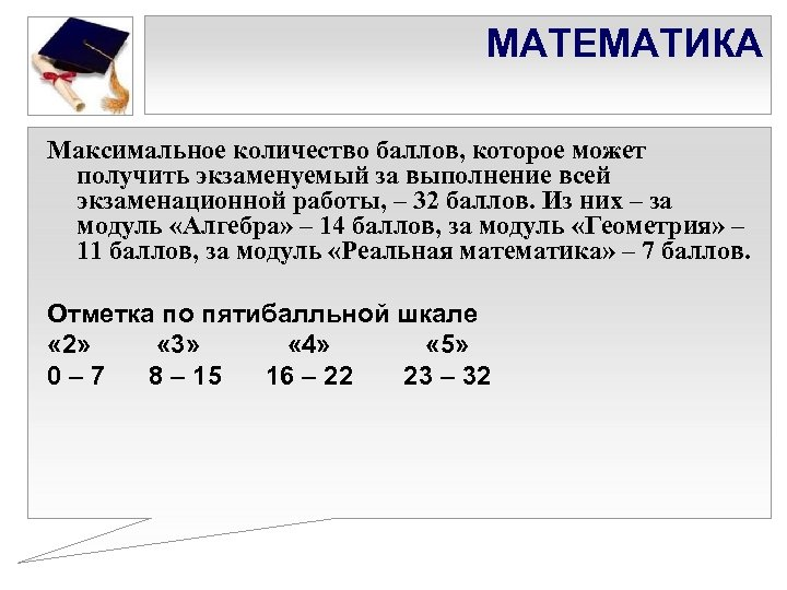 МАТЕМАТИКА Максимальное количество баллов, которое может получить экзаменуемый за выполнение всей экзаменационной работы, –